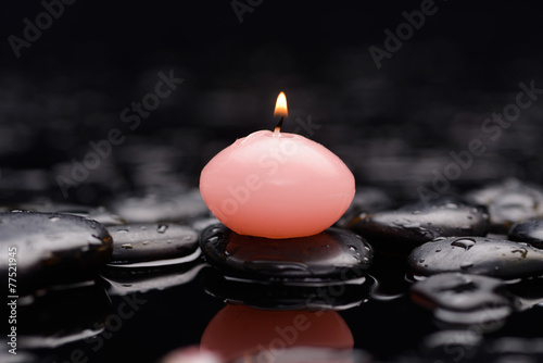 Poster Spa Pink candle with therapy stones
