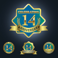Celebrating 14 Years Anniversary - Blue seal with golden ribbon