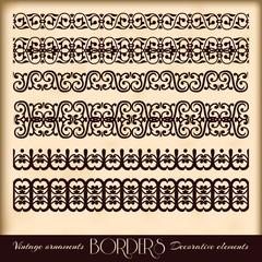 Borders decorative elements. Retro style set.