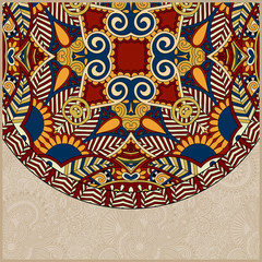 ornamental floral template with circle ethnic dish element