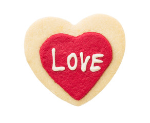 love text on red heart cookie isolated on white background