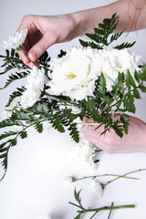 Girl making a bouquet