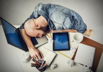 Employee fallen asleep