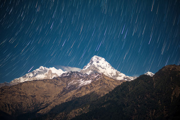 Star trails over Himalayas, Nepal