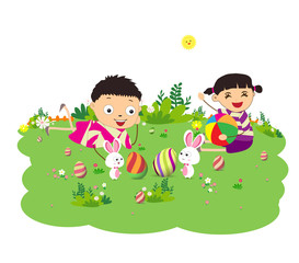 happy easter eggs with kids and bunny funny
