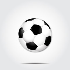 Soccer ball with shadow on a gray background vector
