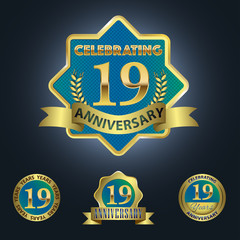 Celebrating 19 Years Anniversary - Blue seal with golden ribbon