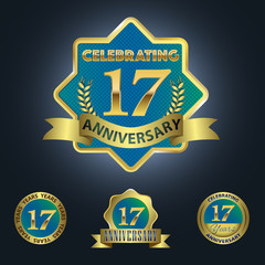 Celebrating 17 Years Anniversary - Blue seal with golden ribbon