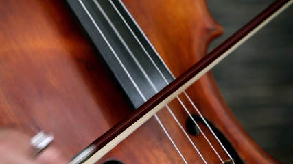 Cello and cellist closeup