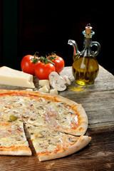 Italian Pizza with Ham and Mushrooms