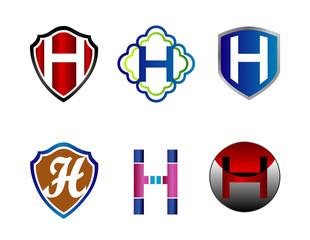 Letter H alphabet logo element vector icon set