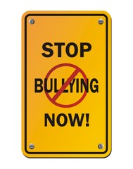 stop bullying now - yellow signs