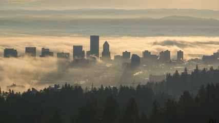 Time Lapse of Rolling Fog Over City of Portland OR Early Morning