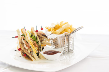 Club Sandwich with Cheese, Cucmber, Tomato , Lettuce and french