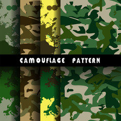 Set of 4 forest camouflage seamless patterns vector
