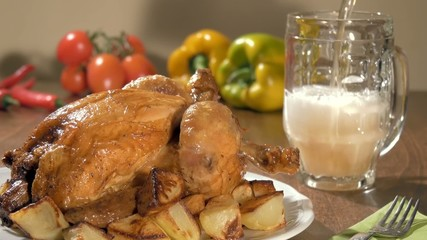 roast chicken and pouring beer