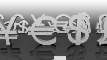 Currency Symbols.Seamless loop