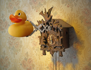 cuckoo clock with rubber duck