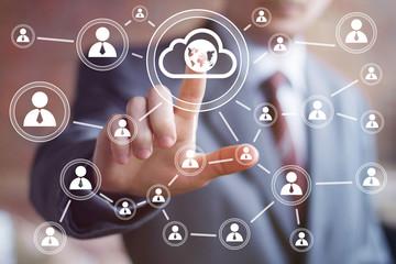 Businessman touch button interface cloud map communication web