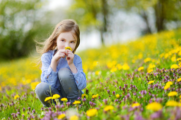 Adorable girl in blooming dandelion flowers