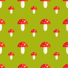 Seamless pattern with amanita mushrooms