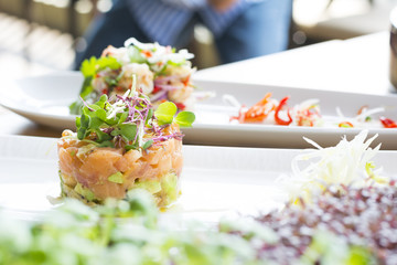 Salmon Tartare stack with Avocado, Olives & Tarragon