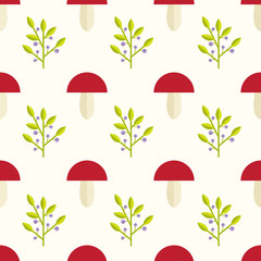 mushrooms and berries seamless pattern