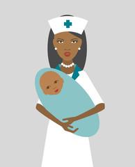 Black nurse holding newborn child. Flat design. Vector.