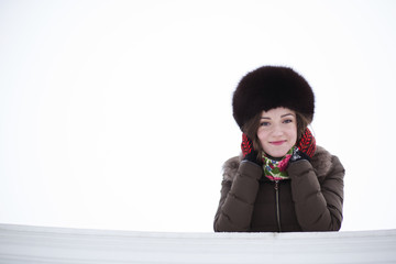 Frozen cute lady with red cheeks