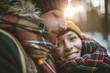 Leinwanddruck Bild - Young man hugs his girlfriend in winter forest