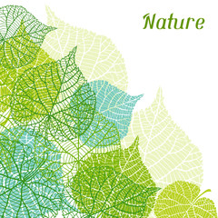 Background of stylized green leaves.