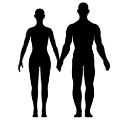 Illustratin of silhouette of woman and man
