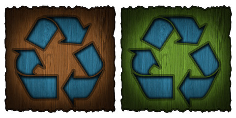recycling symbol carved into wooden label, isolated