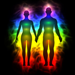 3d illustration of rainbow aura of woman and man