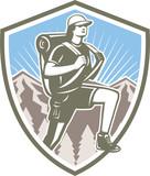 Female Hiker Hiking Mountain Shield Retro