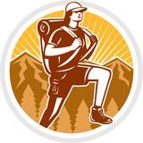 Female Hiker Hiking Mountain Circle Retro