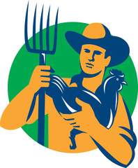 Organic Farmer Pitchfork Chicken Retro