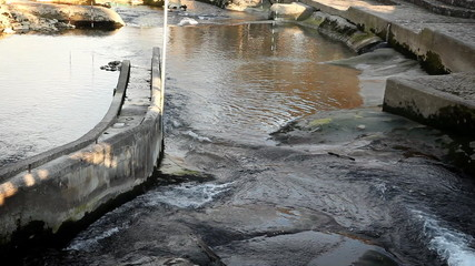 Still shot of regulated river running