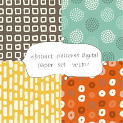 abstract patterns digital paper set vector