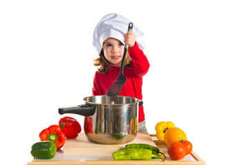 Little girl playing cooking