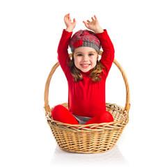 Cute baby inside basket