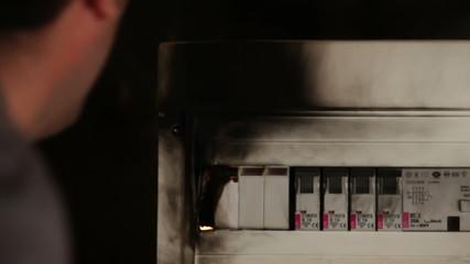 Close shot of a failure in electric fuse closet