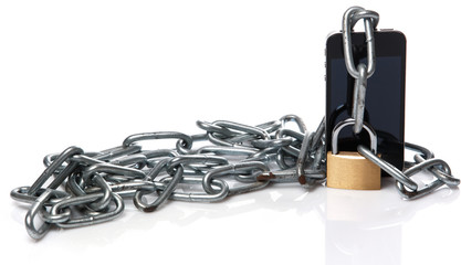 Smartphone, chain and padlock