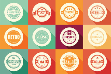 Collection of vintage retro labels, badges, stamps and ribbons
