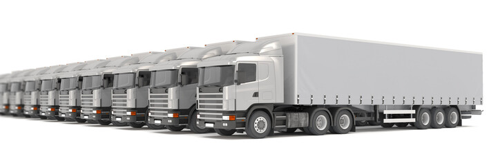 silver cargo trucks parked in a row