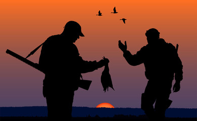 hunters in the evening