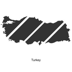 Black map of Turkey for your design