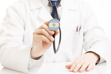 Doctor holding stethoscope with flag series - Argentina