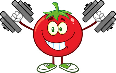 Smiling Tomato Cartoon Mascot Character Training With Dumbbells