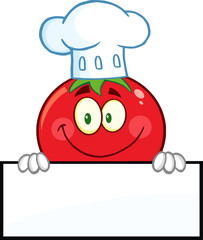 Tomato Chef Cartoon Mascot Character Over A Blank Sign